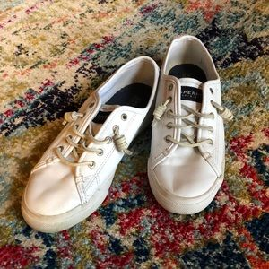 sperry topsiders white leather size 8.5